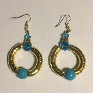 3/$15 blue bead and gold tone earrings